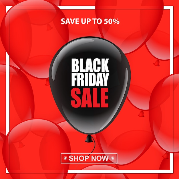 Black balloon with black friday sale text on red balloons background Premium Vector