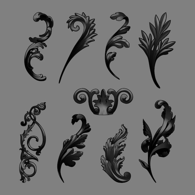 Black baroque elements vector set Free Vector