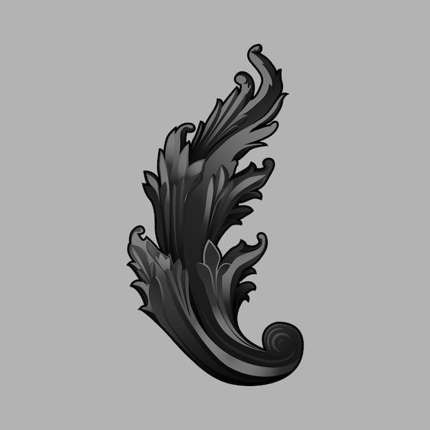 Black baroque floral elements vector Free Vector