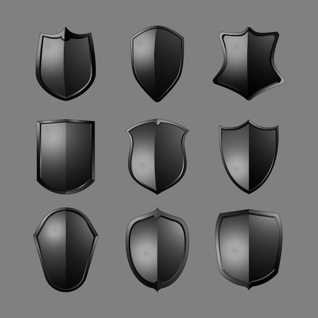 Black baroque shield elements vector set Free Vector