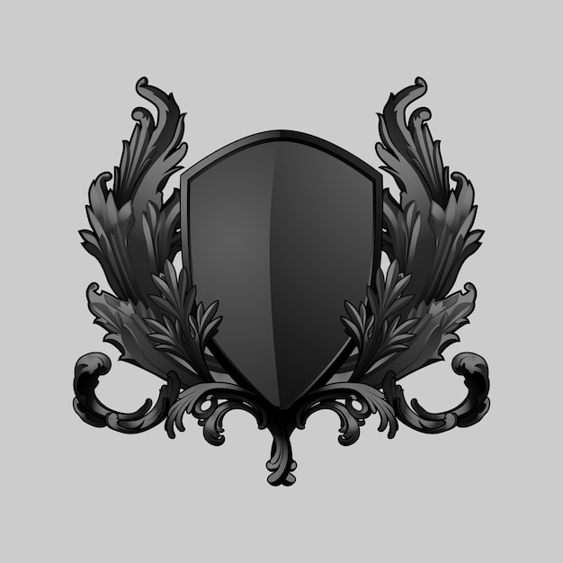 Black baroque shield elements vector Free Vector