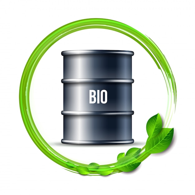 単語バイオと緑のバイオ燃料の黒いバレルは、白い背景、環境の概念に残します。 。 Premiumベクター