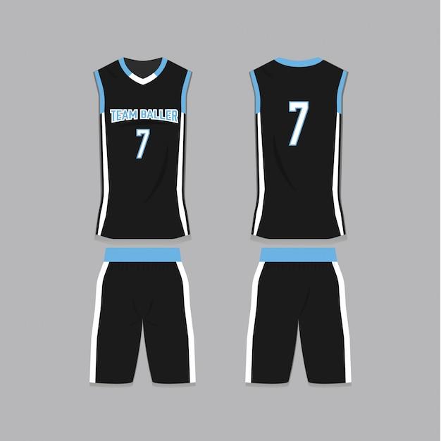 Черный шаблон баскетбола джерси Premium векторы