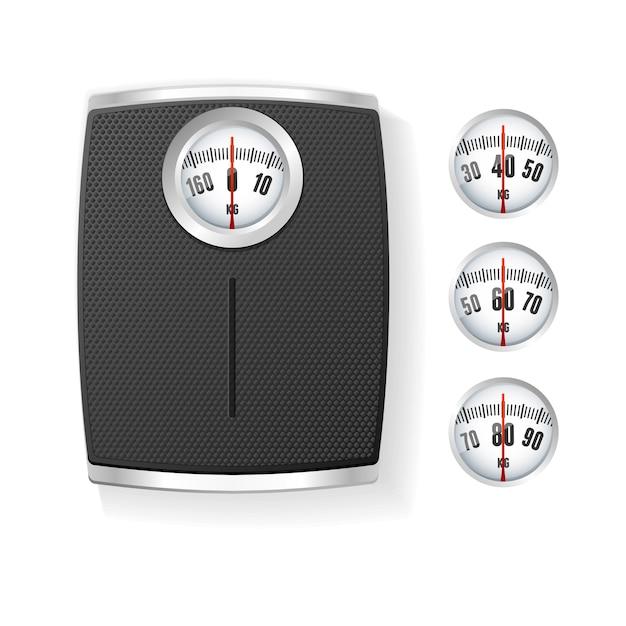 Черные весы для ванной, изолированные на белом фоне. концепция управления телом Premium векторы