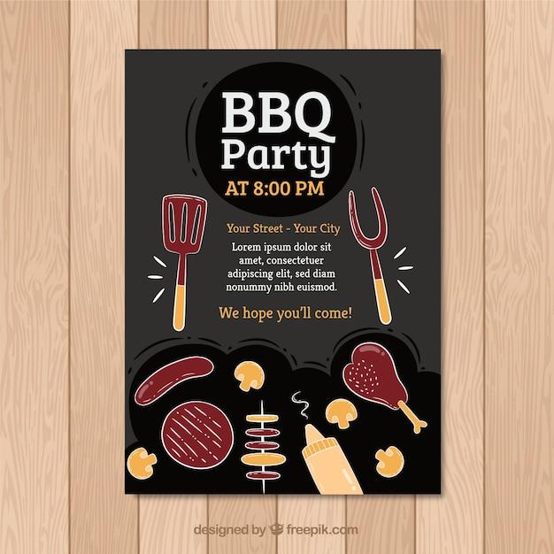 Black Bbq Invitation Template Vector Free Download - Free bbq invitation template
