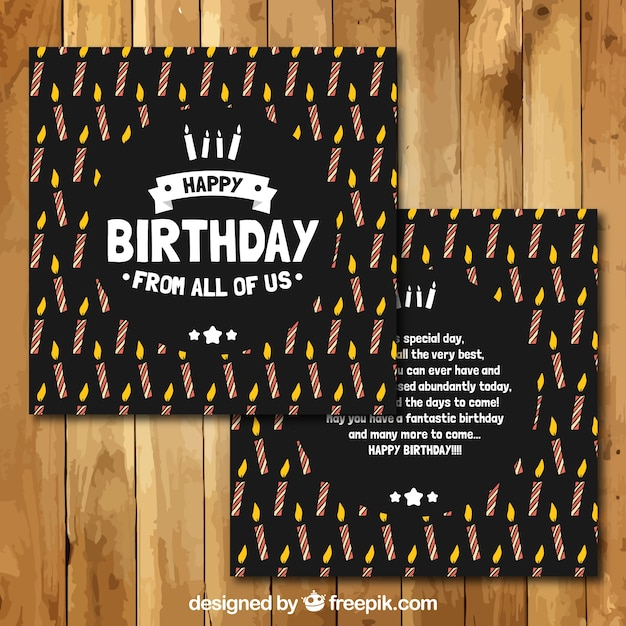 black birthday cards vector free download
