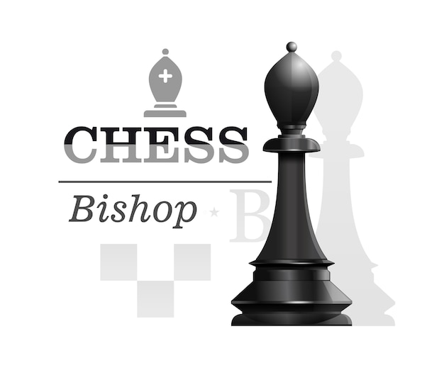 Black bishop the background of the chessboard silhouette. chess piece elephant or officer. chess concept design.  illustration Premium Vector