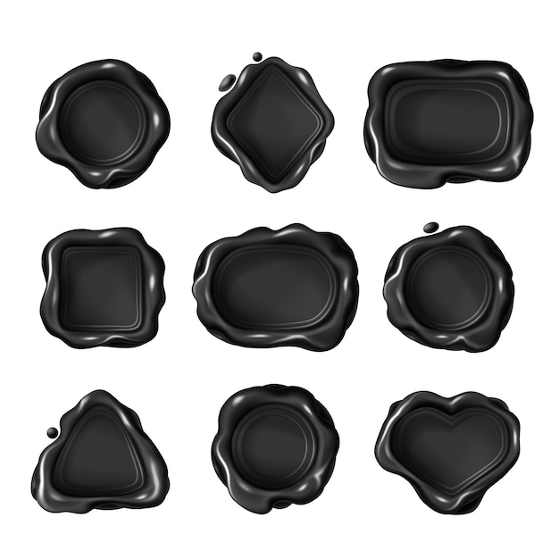 Black blank wax stamps of different geometric shapes Free Vector