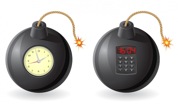 Black bomb with a burning fuse and clockwork Premium Vector