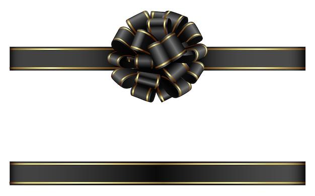 ゴールドの縁取りが施された黒の弓とリボン Premiumベクター