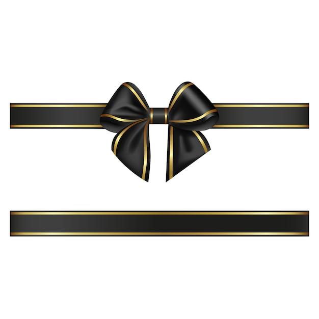 Черный бант и лента с золотой каймой Premium векторы