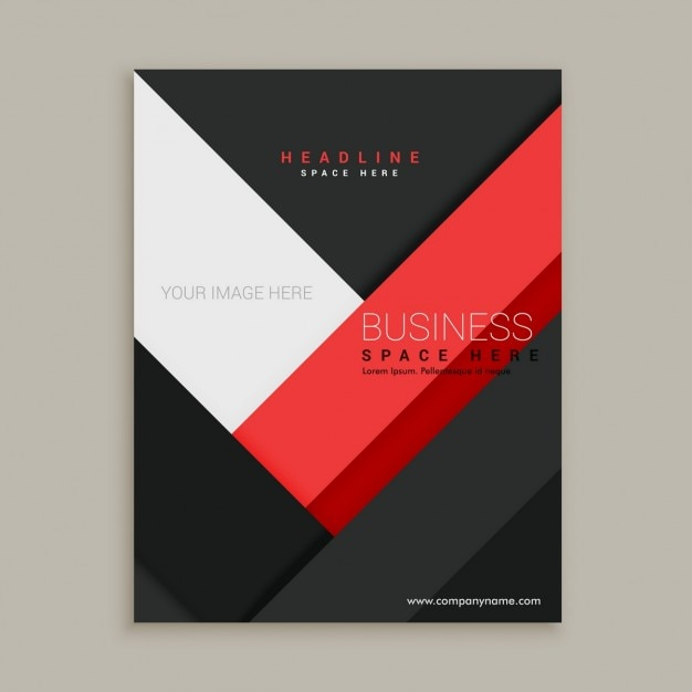 black brochure with red geometric shapes vector