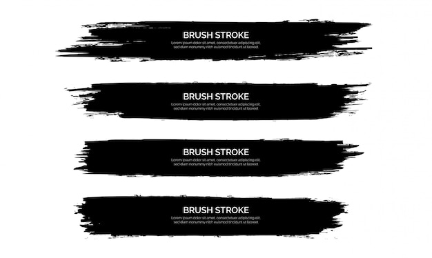 Black brush stroke banner template collection Free Vector