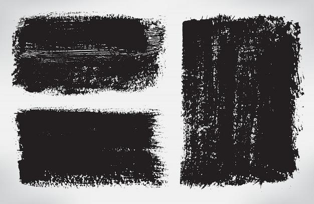 Черные баннеры мазка кистью Premium векторы