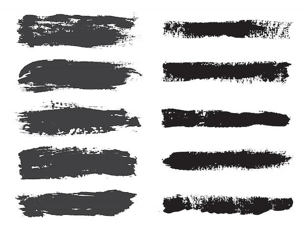 Black brush stroke collection Premium Vector