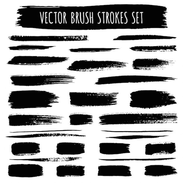 Black brush strokes collection Premium Vector