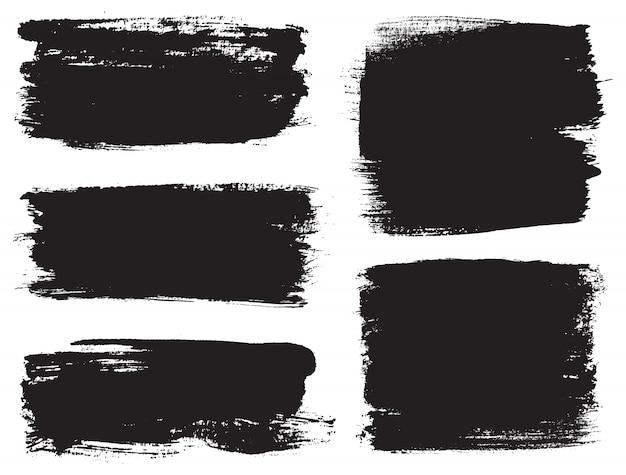 Black brush strokes Premium Vector