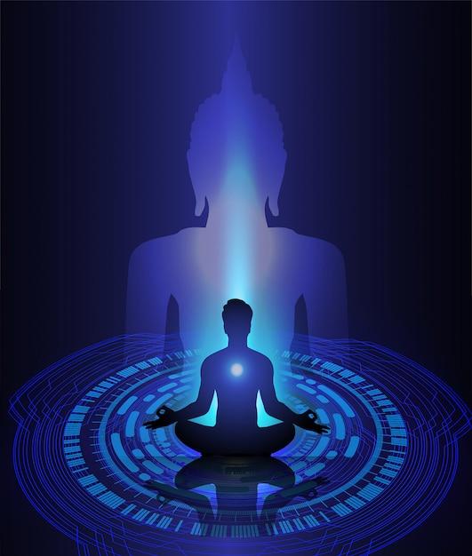 Black buddha silhouette against dark blue background. yoga Premium Vector
