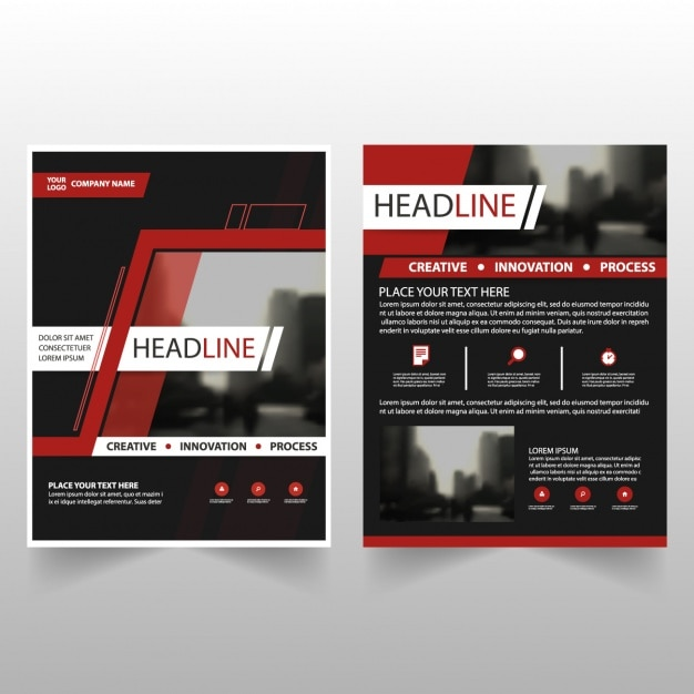 black business brochures with red details vector