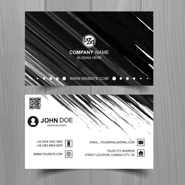 Black business card , hand painted Free Vector