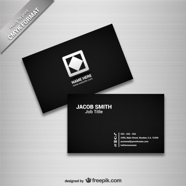 Black business card template vector free download for Business card template black