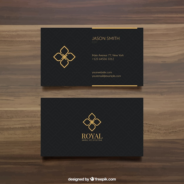 Black Business Card Template Premium Vector