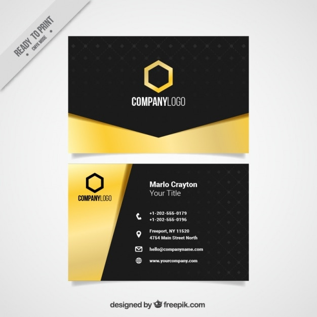 black business card with golden details vector free download