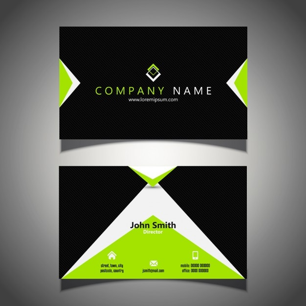 Black Business Card With Green Elements Free Vector