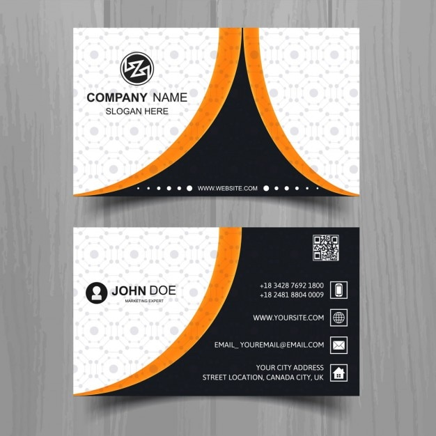 Black business card with orange lines free vector