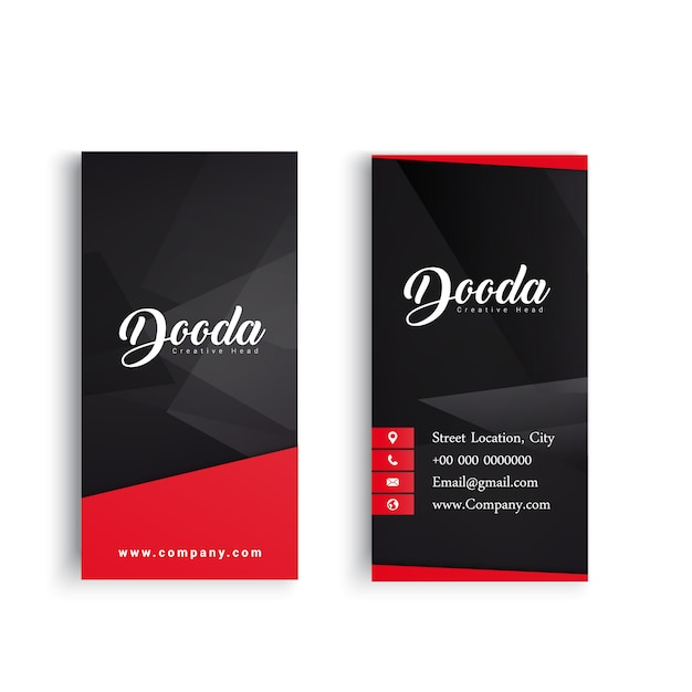 Black business card with red details Free Vector