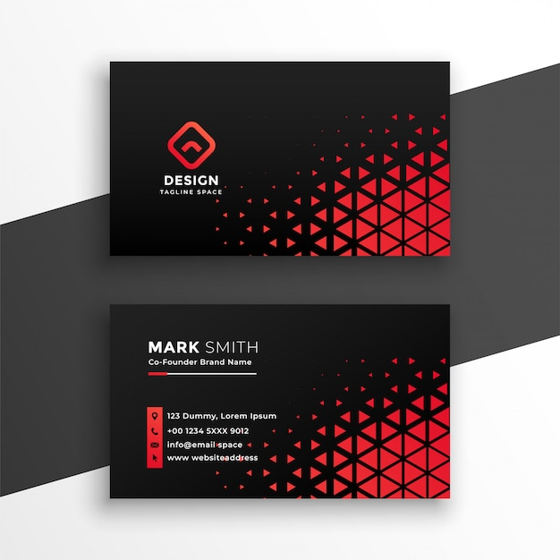 Black business card with red triangle shapes Free Vector