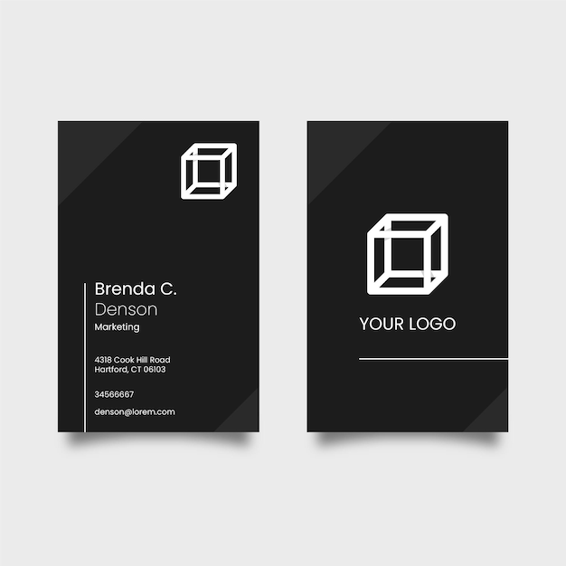 Black business card with white logo cube Premium Vector