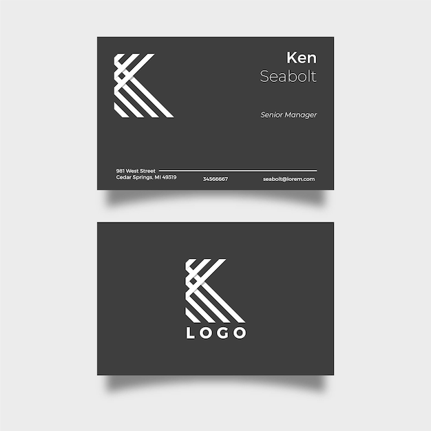 Black business card with white logo letter Premium Vector