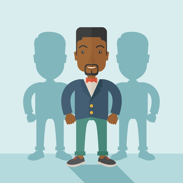 Black businessman standing straight with his shadows. Premium Vector