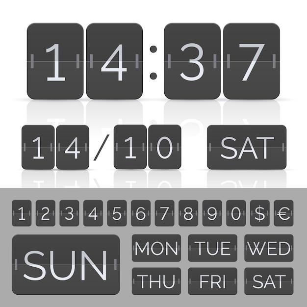 タイマーとスコアボード番号付きの黒いカレンダー。 Premiumベクター