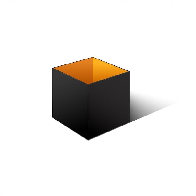 Black cardboard box isolated on white background. Premium Vector