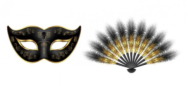 Black carnival venetian mask, masquerade feather fan with gold ornament Premium Vector