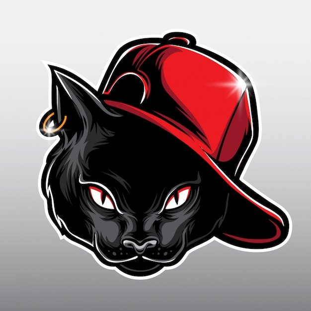 Black cat cartoon Premium Vector