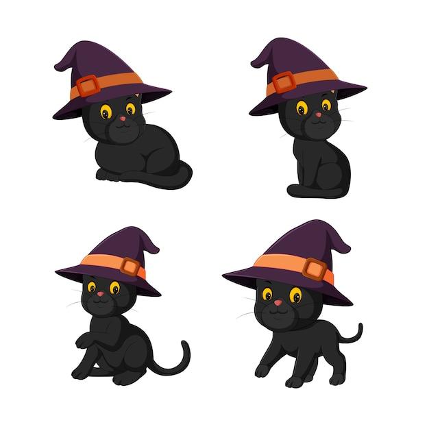 Black Cat Halloween Collection Premium Vector