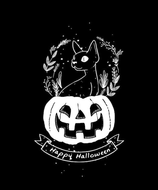 Черная кошка иллюстрации. happy halloween тыквы и иллюстрации черный кот. Premium векторы