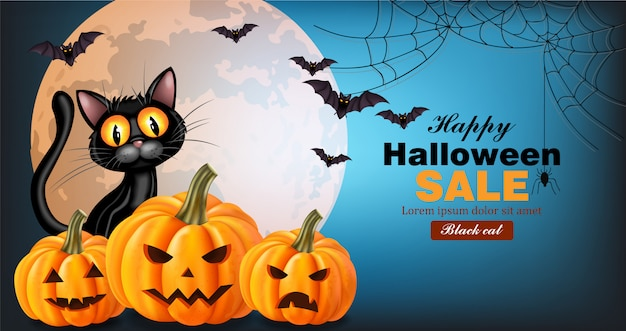 Black cat and pumpkins halloween card Premium Vector