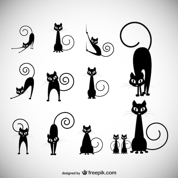 Black cat silhouettes Free Vector
