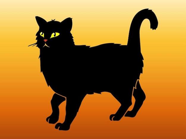 Black cat walking animal sticker