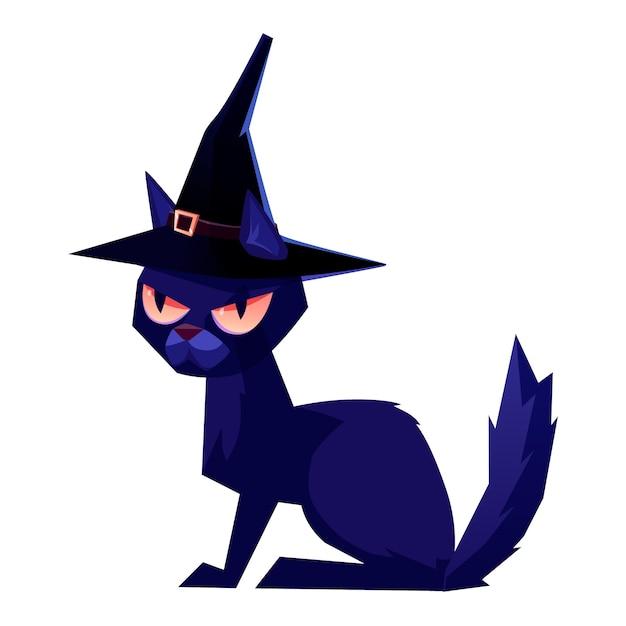 마녀 모자를 쓰고 검은 고양이. 할로윈 그림 프리미엄 벡터