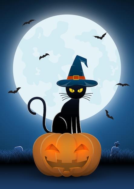 마녀 모자를 쓰고 검은 고양이 호박 머리에 앉아 프리미엄 벡터