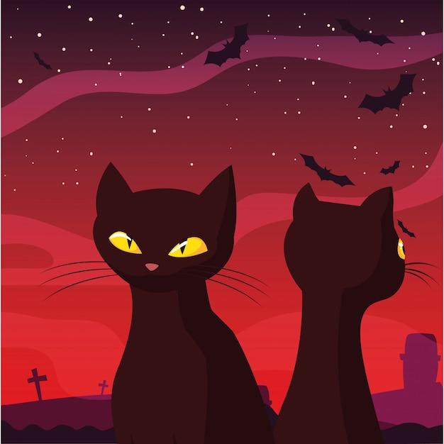 Black cats happy halloween celebration Premium Vector