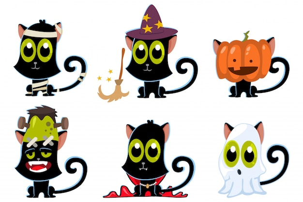 할로윈 의상 세트에 검은 고양이 : 좀비, 유령, 호박, 뱀파이어, 마녀 및 미라. 프리미엄 벡터