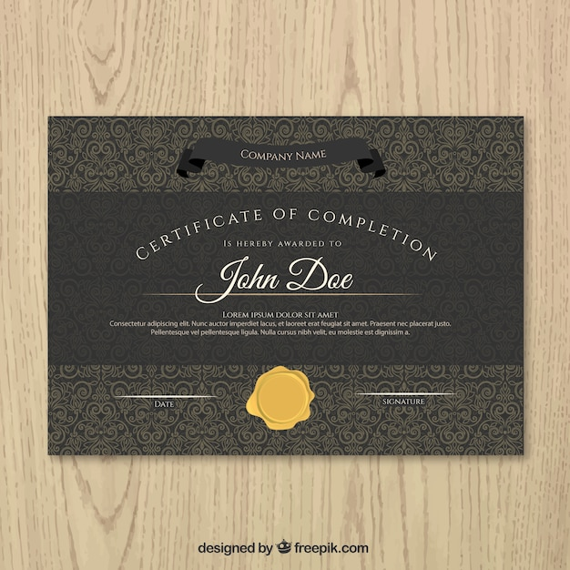 black certificate of achievement with a gold seal vector