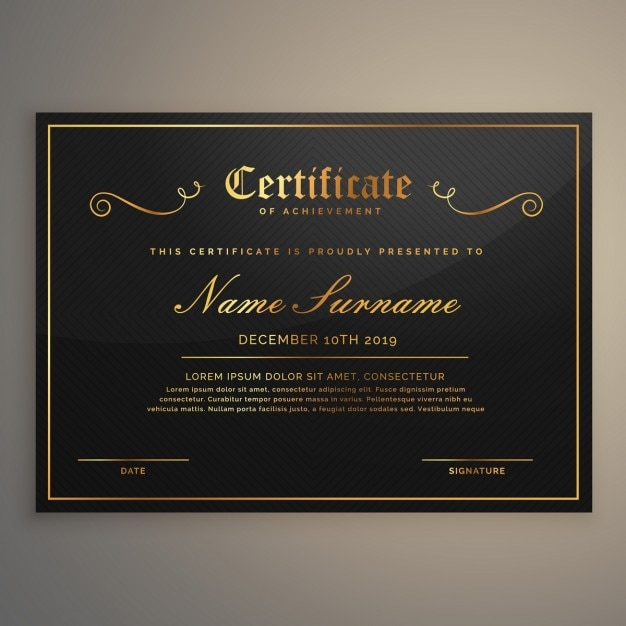 Black certificate with gold ornaments Vector | Free Download Quaker Logo Vector