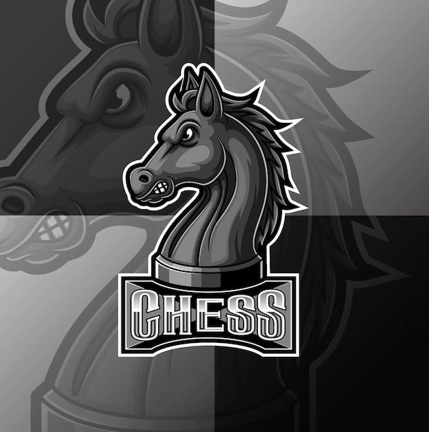 Black chess knight horse mascot e sport logo design Premium Vector
